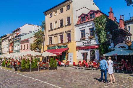 KRAKOW, POLAND - SEPTEMBER 4, 2016: Houses of Jewish Quarter (Kazimierz) of Krakow, Poland
