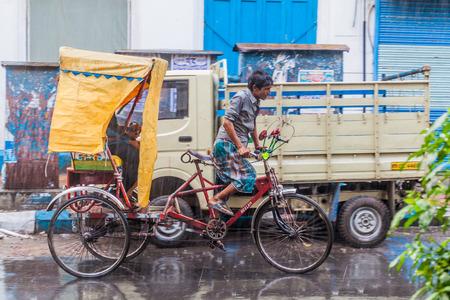 KOLKATA, INDIA - OCTOBER 30, 2016: Cyclo rickshaw in the center of Kolkata, India