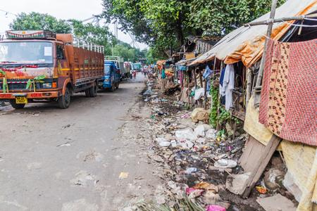 KOLKATA, INDIA - OCTOBER 31, 2016: Small slum in the center of Kolkata, India