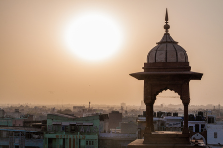 Sunset over Old Delhi, India.