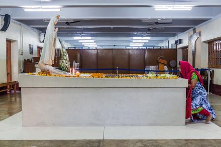 KOLKATA, INDIA - OCTOBER 30, 2016: View of Mother Teresa tomb in Mothers House in Kolkata, India.