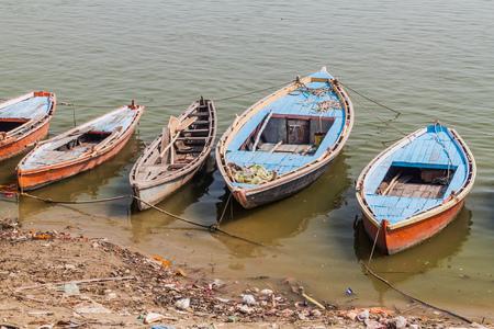 Small boats at river Ganges in Varanasi, India
