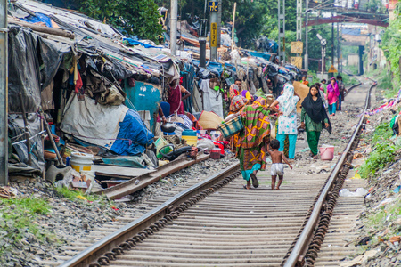 KOLKATA, INDIA - OCTOBER 31, 2016: Railway track and a slum in the center of Kolkata, India Editorial