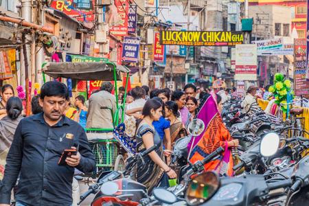 VARANASI, INDIA - OCTOBER 25, 2016: Street traffic in Varanasi, India.