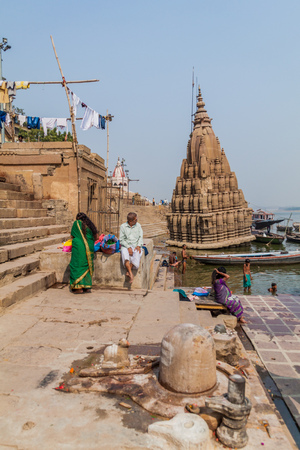 VARANASI, INDIA - OCTOBER 25, 2016: View of Ghats (riverfront steps) leading to the banks of the River Ganges in Varanasi, India Editorial
