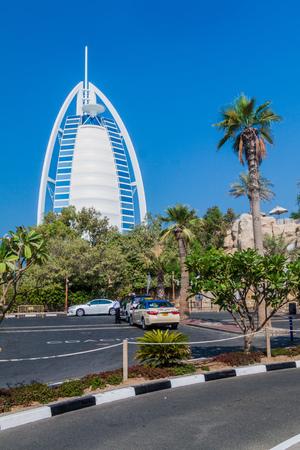 DUBAI, UAE - OCTOBER 21, 2016: View of Burj Al Arab (Tower of the Arabs) hotel in Dubai, United Arab Emirates