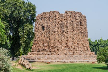 Unfinished Alai Minar minaret in Qutub complex in Delhi, India. Stock Photo