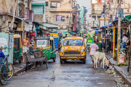 KOLKATA, INDIA - OCTOBER 30, 2015: View of a street life in Kolkata (Calcutta), India