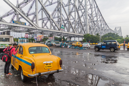 HOWRAH, INDIA - OCTOBER 27, 2016: View of Howrah Bridge, suspended span bridge over the Hooghly River in West Bengal, India Editorial