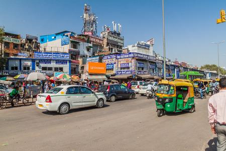 DELHI, INDIA - OCTOBER 22, 2016: Street traffic in the center of Delhi, India.