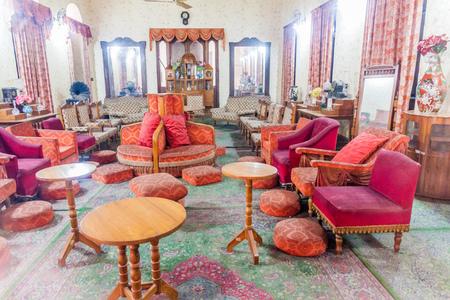 DHAKA, BANGLADESH - NOVEMBER 22, 2016: Interior of Ahsan Manzil, former residential palace of the Nawab of Dhaka, Bangladesh