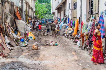 KOLKATA, INDIA - OCTOBER 31, 2016: Dirty alley near Kalighat temple in Kolkata, India.