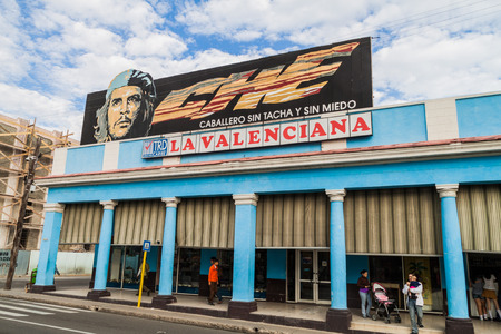 CIENFUEGOS, CUBA - FEBRUARY 10, 2016: Propaganda mural at Paseo del Prado street in Cienfuegos, Cuba. It says: Che: Gentleman without flaws and fears. Editorial