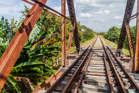 Railway bridge over Ay river in Valle de los Ingenios valley near Trinidad, Cuba Stock Photo