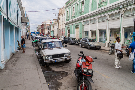 CIENFUEGOS, CUBA - FEBRUARY 11, 2016: View of a street in the center of Cienfuegos, Cuba. Editorial