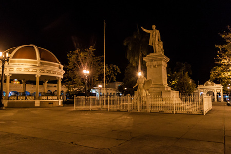 Jose Marti statue at Parque Jose Marti square in Cienfuegos, Cuba.