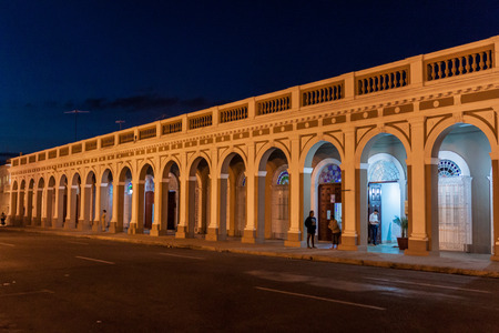 View of arched building at Parque Jose Marti square in Cienfuegos, Cuba Stock Photo