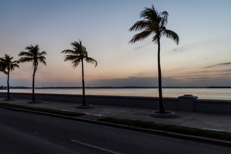 Evening view of Malecon (seaside drive) in Cienfuegos, Cuba. Stock Photo - 92743426