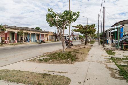 CIENFUEGOS, CUBA - FEBRUARY 11, 2016: View of a street in Cienfuegos, Cuba. Stock Photo - 92560651