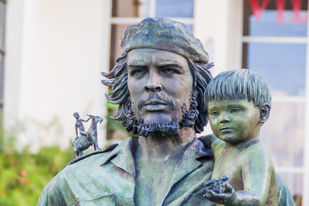 SANTA CLARA, CUBA - FEB 13, 2016: Che Guevara statue in front of the Provincial Comitee of the Communist Party in Santa Clara, Cuba.