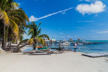 CAYE CAULKER, BELIZE - MARCH 2, 2016: View of a coast in Caye Caulker village, Belize