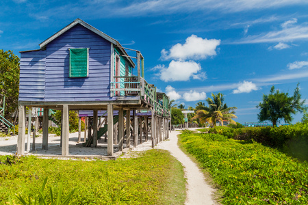 Wooden houses on stilts at Caye Caulker island, Belize Stok Fotoğraf