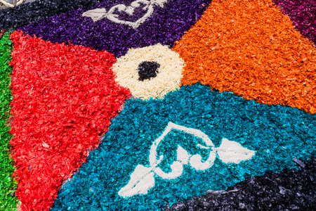 Detail of decorative Easter carpet in Antigua Guatemala town, Guatemala. Stock Photo