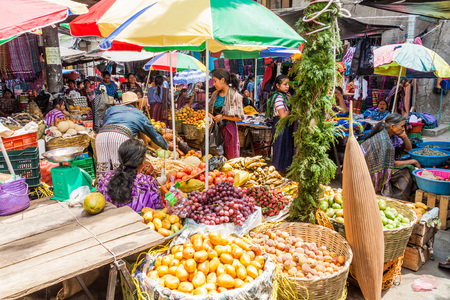SANTIAGO ATITLAN, GUATEMALA - MARCH 24, 2016: View of fruit and vegetable market in Santiago Atitlan village.