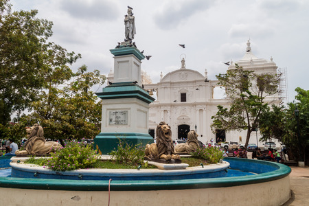 LEON, NICARAGUA - APRIL 27, 2016: Parque central square and the Cathedral in Leon, Nicaragua