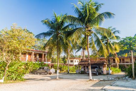 RAXRUHA, GUATEMALA - MARCH 15, 2016: Courtyard of Hotel Cancuen in Raxruha town.