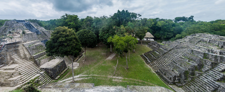 Ruins of the North Acropolis at the archaeological site Yaxha, Guatemala