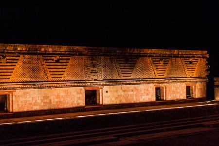 Light show at Nuns Quadrangle (Cuadrangulo de las Monjas) building complex at the ruins of the ancient Mayan city Uxmal, Mexico