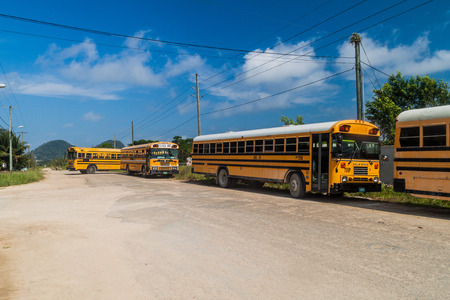 PUNTA GORDA, BELIZE - MARCH 9, 2016: View of local buses (sometimes  called chicken bus), former school buses in Punta Gorda town, Belize
