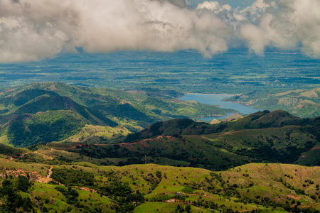Landscape of mountains of Panama, in Reserva Forestal de Fortuna. Quebrada Barrigon reservoir visible.