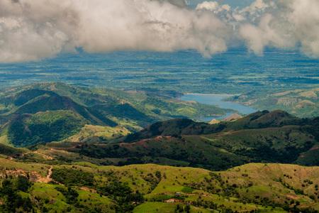 Landscape of mountains of Panama, in Reserva Forestal de Fortuna. Quebrada Barrigon reservoir visible.