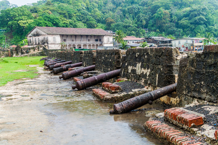 Cannons at Fuerte San Jeronimo fortress and Real Aduana customs house in Portobelo village, Panama