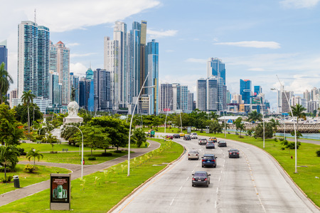 PANAMA CITY, PANAMA - MAY 30, 2016: View of modern skyscrapers and a traffic Balboa avenue in Panama City.