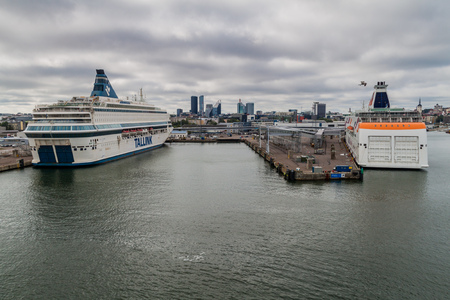 TALLINN, ESTONIA - AUGUST 24, 2016: MS Silja Europa and MS Baltic Queen (cruiseferries owned by the Estonia-based ferry operator Tallink) in a harbor in Tallinn.