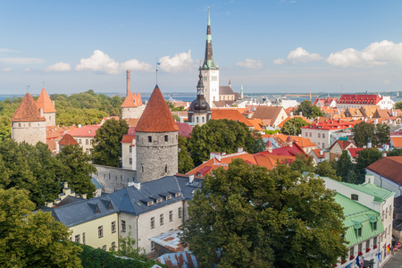 Towers of Tallinn Old Town fortifications, Estonia Stock Photo