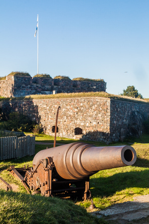 Fortifications and a cannon at Suomenlinna (Sveaborg), sea fortress island in Helsinki, Finland