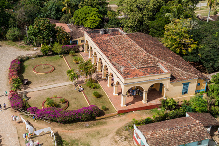 MANACA IZNAGA, CUBA - FEB 9, 2016: Former colonial mansion in Manaca Iznaga village near Trinidad, Cuba