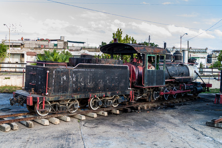 Old steam engine at a train station in Cienfuegos, Cuba.
