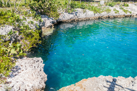 Cove at a coast of Bay of Pigs near Playa Giron village, Cuba Stock Photo