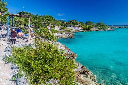 PLAYA GIRON, CUBA - FEB 15, 2016: View of seaside resort Caleta Buena at Bay of Pigs near Playa Giron village, Cuba. Editorial