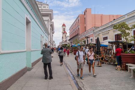 CIENFUEGOS, CUBA - FEBRUARY 12, 2016: Souvenir market in Cienfuegos, Cuba. Editorial