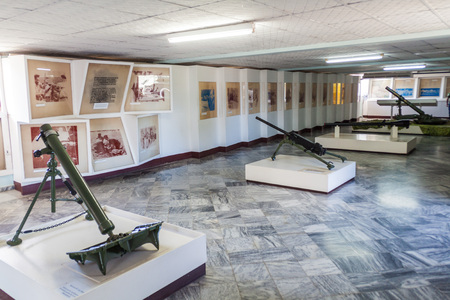PLAYA GIRON, CUBA - FEB 14, 2016: Weapons in a rmuseum dedicated to the failed 1961 Bay of Pigs invasion in Playa Giron village, Cuba. Editorial
