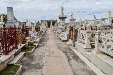 Tombs at Cementerio la Reina cemetery in Cienfuegos, Cuba. The cemtery was damaged by a hurricane.