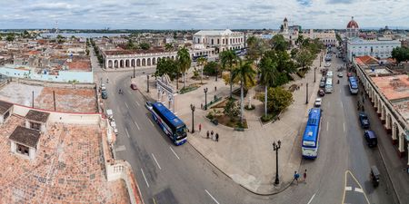 CIENFUEGOS, CUBA - FEBRUARY 11, 2016: View of Parque Jose Marti square in Cienfuegos, Cuba.
