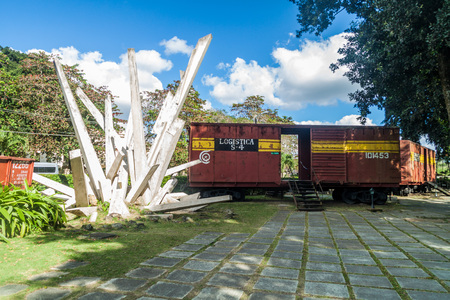 SANTA CLARA, CUBA - FEB 13, 2016: Monument to the derailment of the armored train in Santa Clara, Cuba. Stock Photo