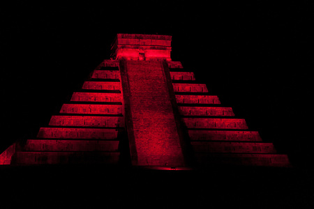 Night view of Kukulkan pyramid in ancient Mayan city Chichen Itza, Mexico